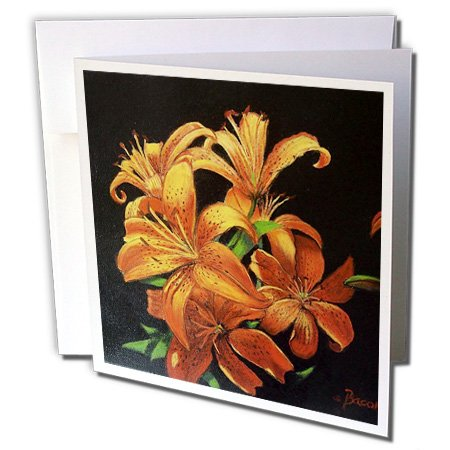 Gladys Bacon Flower - Bright Orange speckled Tiger Lilies floating on black. - 12 Greeting Cards with envelopes (gc_61499_2)