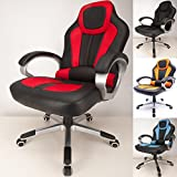 RayGar Deluxe Padded Sports Racing Gaming Chair – Red