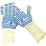 Oven Glove- Heat Resistant Gloves- Superior Heat proof Oven Mitts with Non-Slip Silicone Grip- Kitchen Bbq and Grill Safety Long-Cuff Wrists Protection - Flexibility Comfort Light-Weight - High Quality Performance Chart EN407- Free Ebook!
