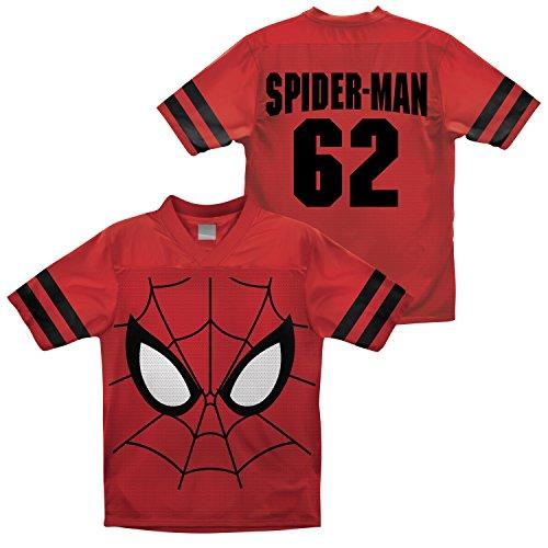 Marvel Big Boys' Spider Man Football Jersey T-Shirt, Red, 10/12 front-459396