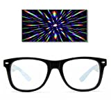 GloFX Ultimate Diffraction Glasses - Black - 3D Prism Effect EDM Rainbow Kaleidoscope Style Sunglasses