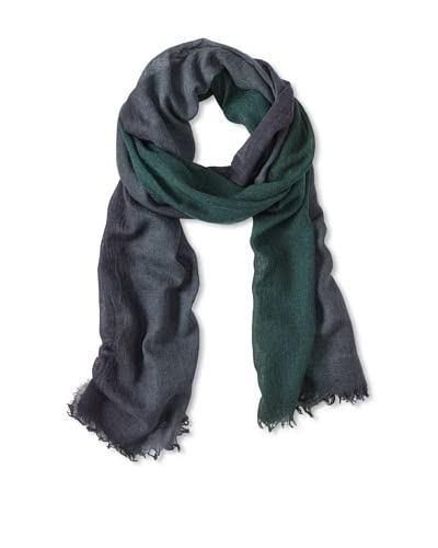 Les Copains Women's Scarf with Fringe  [Bottle Green/Navy]