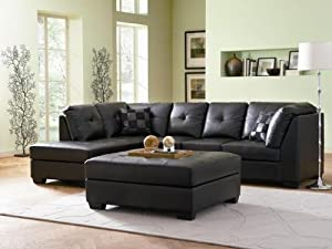 Contemporary Black Leather Sectional Sofa Left Side Chaise by Coaster