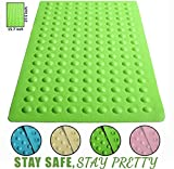 """Luxury Anti Slip Suction Bath Mat - Non Slip Mats for Tub & Shower Bathroom Safety - Latex & PVC Free Natural Rubber - 15.7"""" x 27.5"""" - Ideal for Homes, Hotels, Gyms & Long-Term Care Facilities (Green)"""