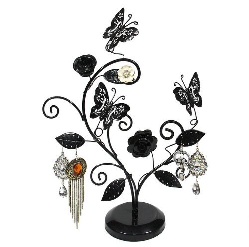 pr sentoir porte bijoux pour accrocher boucles d 39 oreilles et colliers papillon rose arbre. Black Bedroom Furniture Sets. Home Design Ideas