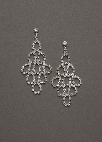 David's Bridal Crystal Chandelier Earring Style DBW-S-2879, Silver