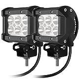 CooAgo LEDワークライト LEDライトバー オフロード 防水作業灯 CREE製18W 6連10-30VDC対応(12V/24V兼用)2個セット