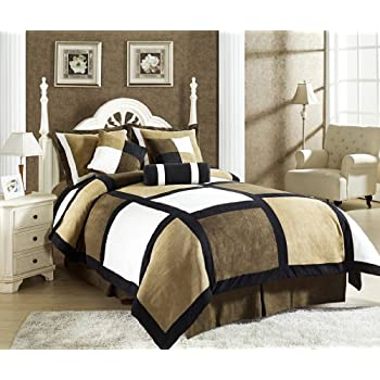 Micro suede patchwork comforter by Chezmoi Collection, 1 Comforter: 104