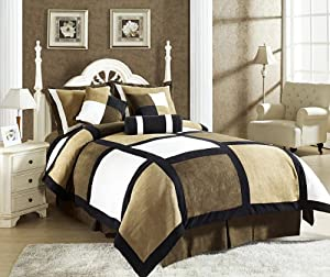Chezmoi Collection Micro Suede Patchwork 7-Piece Comforter Set, King, Black/Brown/White