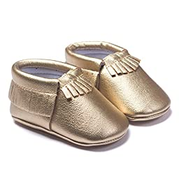 LIVEBOX Infant Baby Moccasins Soft Sole Anti-Slip Tassels Prewalker Toddler Shoes (2: 6~12 months, Golden)