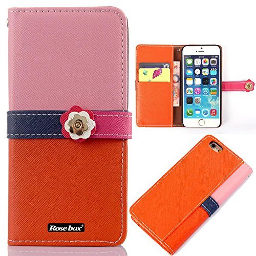 RoseBox® IPhone 6 Plus Case Apple iPhone 6 Plus Case 5.5 Inch Leather Case Fashion Elegant design Four color combinations Series Flip Case Cover Wallet Cover lus Feature + Credit Card Holder Slots Fit For Apple iPhone 6 Plus 5.5 Inch(IPhone 6 case) (Pink &Orange &blue &rose pink)