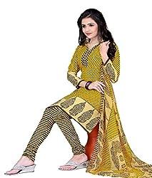 Craftliva Yellow & Cream Printed Crepe Dress Material