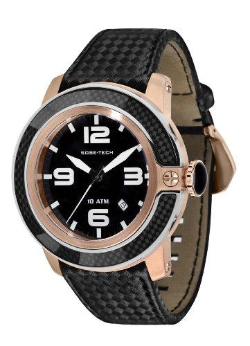 Glam Rock 0.96.2849 - Reloj analógico de cuarzo unisex, correa de cuero color negro