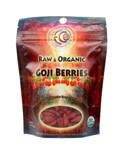 Earth Circle Organics - Raw, Organic, Kosher - Tibetan Plateau Organic Goji Berries, 4 Oz Bag