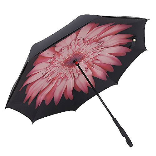 NEWBRELLAs Creative Inside Out Drip-free Inverted Umbrella for Car Use with C Types Hands Free Handle and Daisy Flower Print