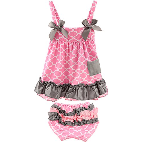 Jubileens 2 PCS Baby Toddlers Infant Girls Cotton Cute Dress+ Underpants Outfit Sets (M(6-18 months), Pink 2)