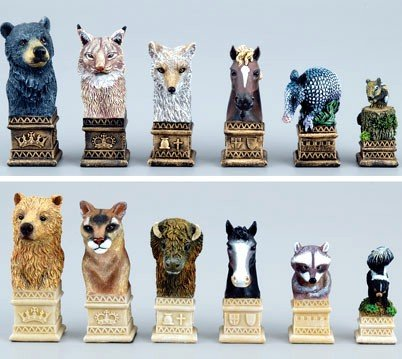 American Wildlife Theme Chessmen - Buy American Wildlife Theme Chessmen - Purchase American Wildlife Theme Chessmen (Fame Products, Toys & Games,Categories,Games,Board Games,Checkers Chess & Backgammon)