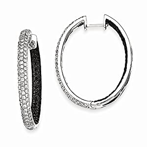 IceCarats Designer Jewelry 14K White Gold Black White Diamond In-Out Hoop Earrings