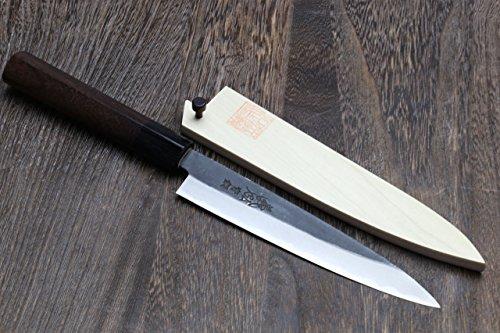 Yoshihiro Aoko(Blue Steel) Kurouchi Petty Utility Chef Knife with Natural Magnolia Saya Cover
