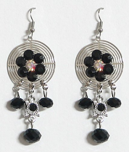 DollsofIndia Stone Setting Metal Earrings - Stone And Metal - Black