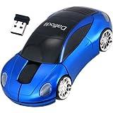 Daffodil WMS217 - Souris Optique Sans Fil / Wireless Mouse - Souris d'Ordinateur avec 2 Boutons, Molette et DPI (PPP) 800 - Pour Laptop / Notebook / Desktop - Compatible avec Microsoft Windows (8 / 7 / XP / Vista) et Apple Mac (OS X +) - Alimentée par 2 Piles AAA (incluses) - Porsche Bleue