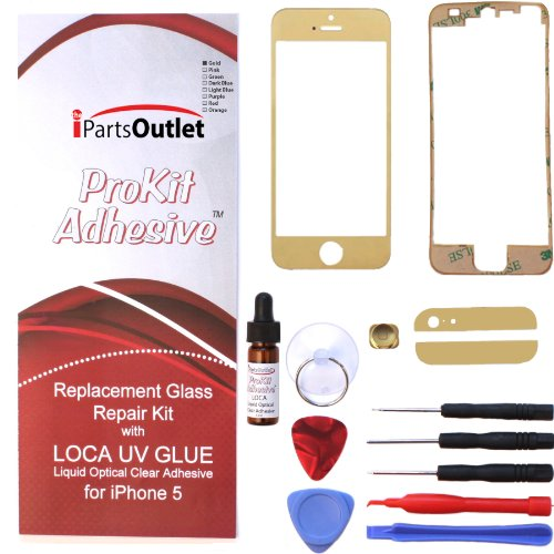 Prokit Adhesive Iphone 5 Repair Kit With Loca Uv Glue For Apple Iphone 5 Gold Mirror Screen Glass Lens Replacement For Apple Iphone 5 - Gold Mirror