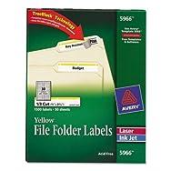 Self-Adhesive Laser/Inkjet File Folder Labels, Yellow Border, 1500/Box