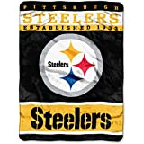 NFL Pittsburgh Steelers Plush Raschel Blanket, 60 x 80-Inch, Black