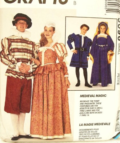 OOP McCall's Costume Pattern 6096. Men's & Misses Renaissance Costumes. Sz Small, (32.5-34