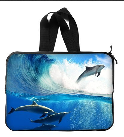Lively Dolphins Swimming In The Sea 13 Inch Laptop Sleeve Bag With Hidden Handle For Laptop / Notebook / Ultrabook / Macbook front-113936