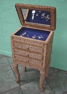 Wicker princess jewelry armoire fruitwood