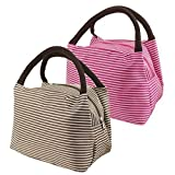 Sealike 2 Pcs Lunch Bags Stripe Lunch Tote Bag With Stylus Hot Pink Brown