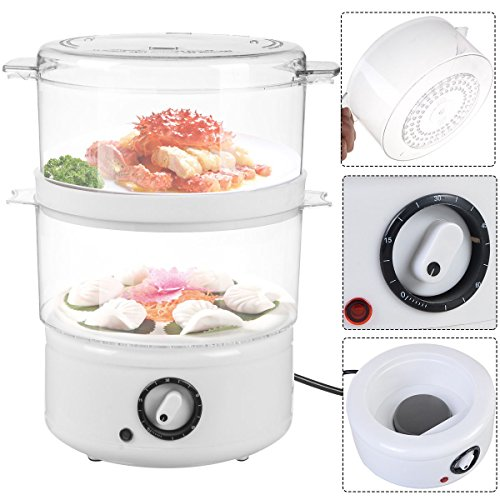 Electric Kitchen Food Steamer Steaming Bowl Cooking Meal Vegetable Veggie Home Warmer Meat Fish Steam Indicator Light Dishwasher Safe Brand New (Streamer Cooker compare prices)