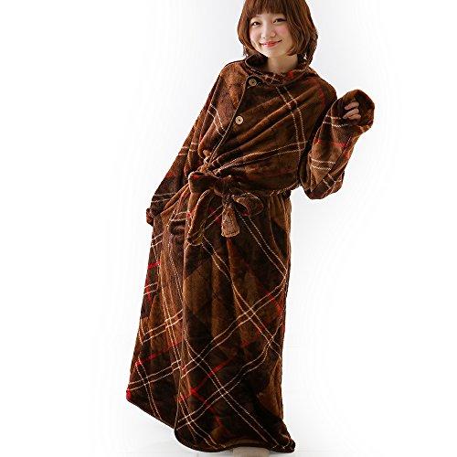着る毛布 グルーニー Groony 2016ver 3サイズ シルキータッチ 静電気防止 ミドル ブラウンチェック