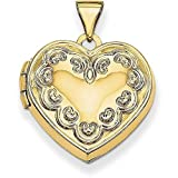 14K Yellow Gold Domed Heart Locket – (0.91 in x 0.71 in)