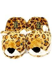 Leopard Animal Plush Cushion Indoor Outdoor NonSlip Grip Sole Slippers S 5-6