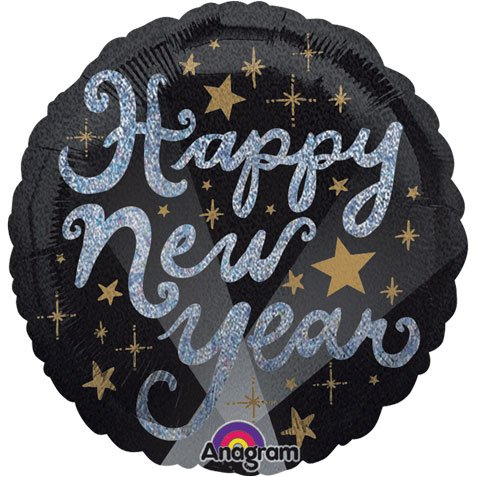 Std New Year Elegant Holographic Balloon 5 pack - 1