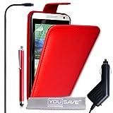 Yousave Accessories Coque HTC Desire 610 Etui Rouge PU Cuir Clapet Housse Avec Stylet Et Chargeur De Voiture
