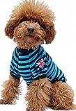 (Banly Shop)ペット服 ボーダー ペット わんちゃん ウェア パーカー 小型犬 中大型犬 コットン 犬服 可愛い お散歩 春 夏 5サイズ 4色 (XS,blue)