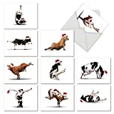 M6545XSGsl Holiday Bovine Nirvana: 10 Assorted Christmas Note Cards Featuring Fun and Flexible Cows Practicing Yoga Poses While Wearing Christmas Hats, w/White Envelopes.