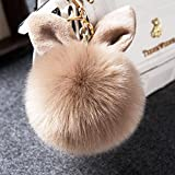 (デマ―クト)De.Markt ウサギの耳形 かわいい ふわふわ フェイクファー ポンポン キーホルダー キーチェーン ペンダント バッグチャーム