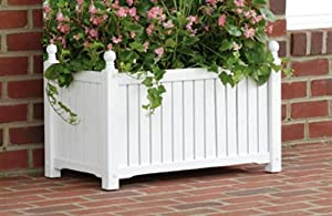 DMC Products Lexington 28-Inch Rectangle Solid Wood Planter, White