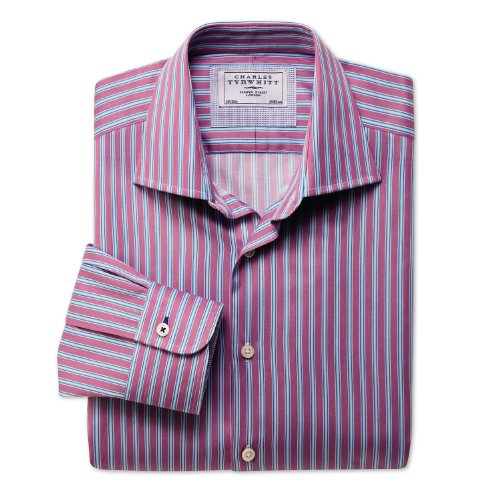Charles Tyrwhitt Pink and blue stripe business casual classic fit shirt (16 - 34)