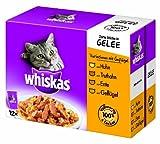 Whiskas Multipack 12x100g Variationen mit Geflügel in Gelee, 1er Pack (1 x 1.2 kg)