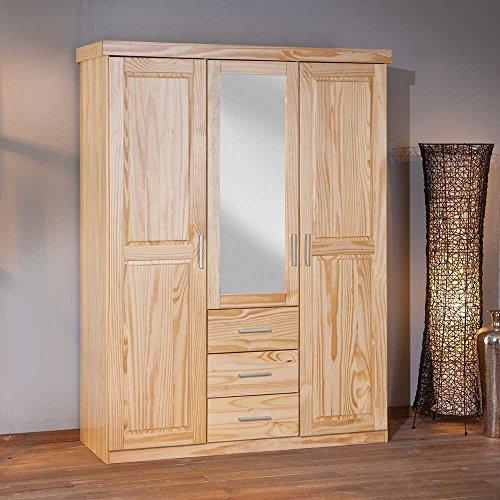 Massivholz-Kleiderschrank-aus-Kiefer-Spiegel-Pharao24