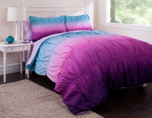 5Pc Teen Girl Reversible Purple Tie Dye Twin Comforter Set (5Pc Bed In A Bag) front-115477