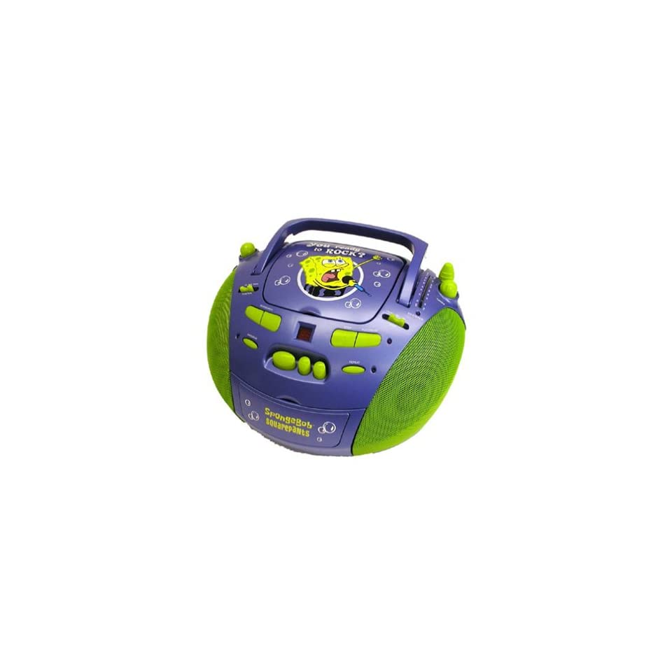 SpongeBob SquarePants Portable CD/CD R/RW Player with Cassette Player and Stereo Radio Blue & Green