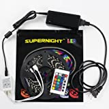 SUPERNIGHT (TM) 5050 RGB Flexible LED Strip lights Christmas Xmas Halloween Color Changing LED Lighting Decoration 5m 300LEDs/Roll Black PCB Waterproof Bathroom LED Strip lighting kit with Power Adapter 24keys Remote Controller
