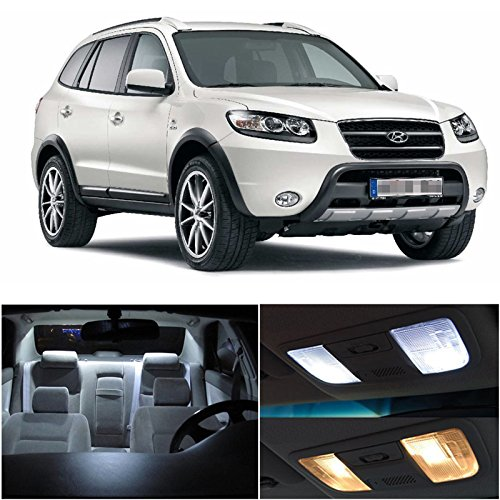 Hyundai Santa Fe 2007-2012 Xenon White Premium Led Interior Lights Package Kit (6 Pieces)