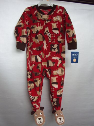 Carter's Fleece Red Dog Puppy Footed Pajama's (12 months)